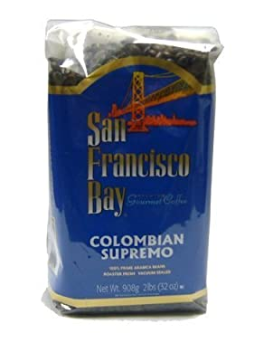 San Francisco Bay Coffee, Colombian Supremo Whole Bean Coffee, 32-Ounce Bags (Pack of 2)