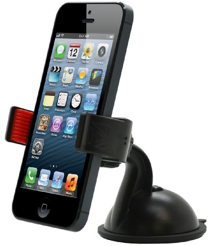 Aduro U-GRIP PLUS Universal Dashboard Windshield Car Mount for Smart Phones, Apple iPhone 5 / 5S / 5C / 4 / 4S / 3G, Samsung Galaxy S2 / S3 / S4, Galaxy NOTE 2, Motorola Droid RAZR / MAXX, HTC EVO 4G, HTC One X, LG Revolution, GPS Holder (Black/Red)