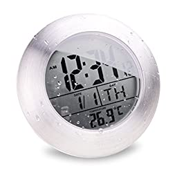ASSIS LCD Bathroom Shower Clock with 4 Suction Cups, Hanging Hole and Table Stand