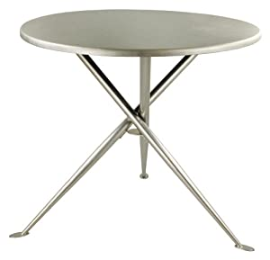 "Coffee Veneer Round Breakroom Table 36"" Coffee Wood Veneer Top/Chrome Tripod Base"
