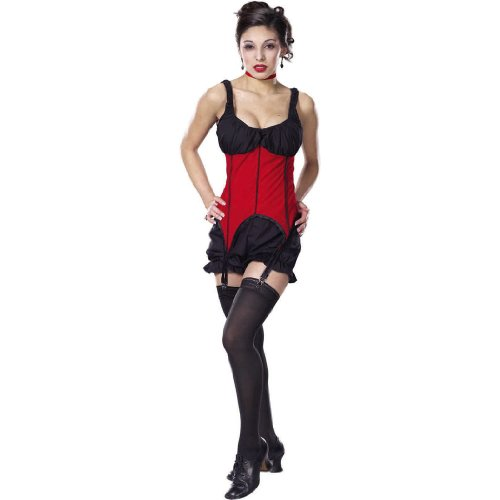 Sexy Theatre Costumes Red Black Corset Saloon Girl Bloomers