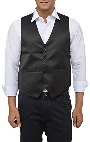 MD Men's Satin Waistcoat (Self Small_S, Black, S)