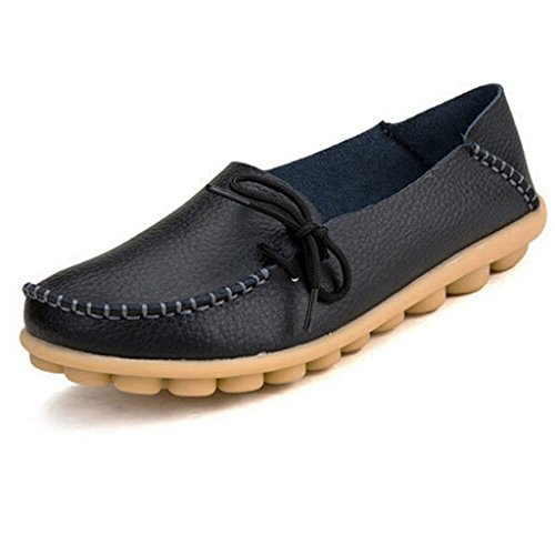 eagsouni-womens-leather-lace-up-casual-loafer-boat-shoes-driving-shoes-black-size-8