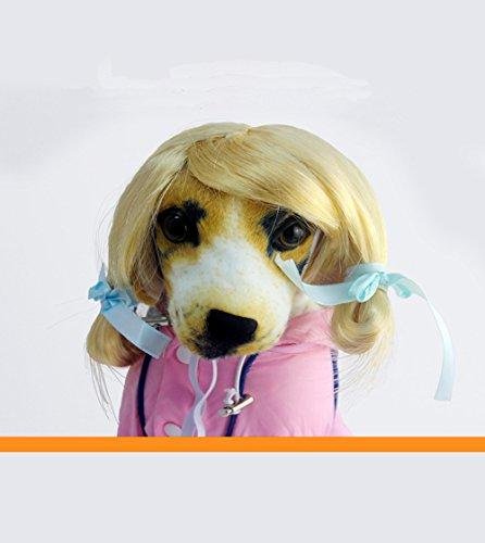 Pet Parrucca di Natale di Halloween trecce interessante parrucca interessante parrucca Gatto Cane Party (Giallo-bianco)