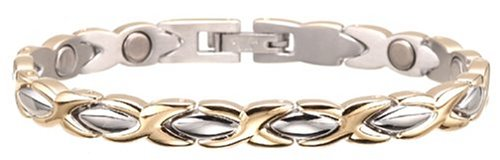Sabona Lady Executive Dress Gold Duet Magnetic Bracelet, Size Large