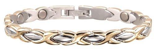 Sabona Lady Executive Dress Gold Duet Magnetic Bracelet, Size Large