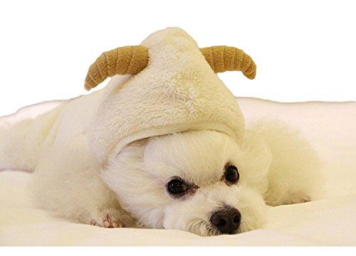 ペット服 犬服 愛犬服 干支の着ぐるみ フリース 羊に変身 ハッピー ニューイヤー 2015年 (白, S)