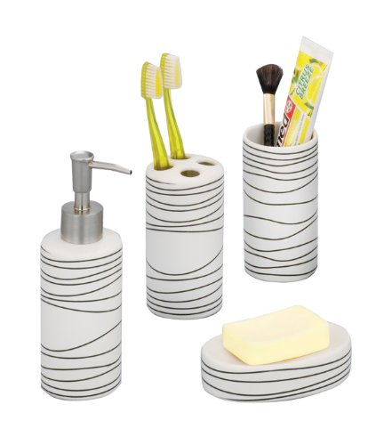 Zeller 18250 4-Piece Bathroom Accessories Set White Ceramic