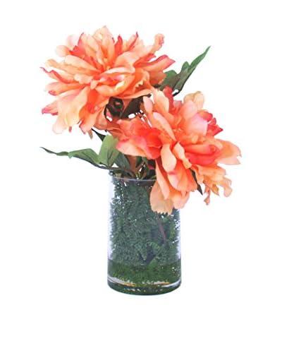 Creative Displays Peonies in Glass Vase, Salmon/Green