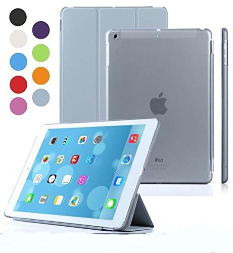 Elite Ultra Thin Smart Flip Foldable Flip Case cover Apple iPad Air 2 (iPad 6) Tablet with Glittering stylus (Sleep/wakeup) (Grey)