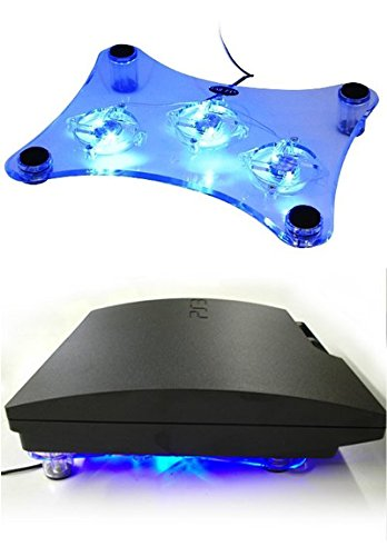 Kabalo USB Blue LED Light 3-Fan Cooler Cooling Pad Stand for PS2
