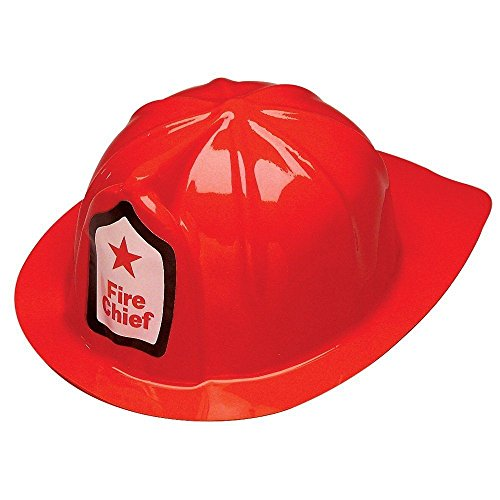 Adorox Red Firefighter Chief Soft Plastic Childs Hat Helmet Fireman Costume Birthday Party Favor Kids Cap Halloween Toy