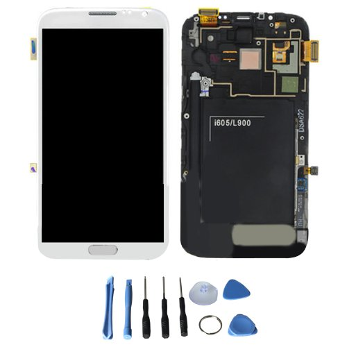 Generic Lcd Display Touch Screen Digitizer Assembly + Frame For Samsung Galaxy Note 2 Ii L900 Sprint (White)