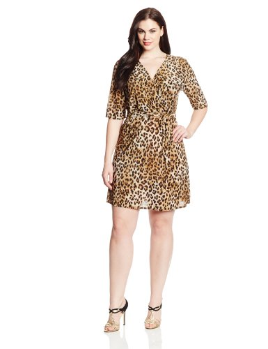B00HD6RKYS Star Vixen Women's Plus-Size Elbow Sleeve Wrap Dress with Necklace, Leopard/Gold, 3X