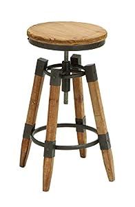 Benzara Wood Metal Adjust Bar Stool with Metallic Moldings, 14 by 14 by 25-Inch, Brown