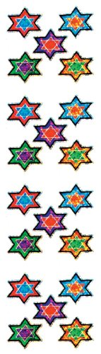 Jillson Roberts Prismatic Stickers, Judaic, Micro Stars of David, Multicolor Jewel Tones, 12-Sheet Count (S7530)