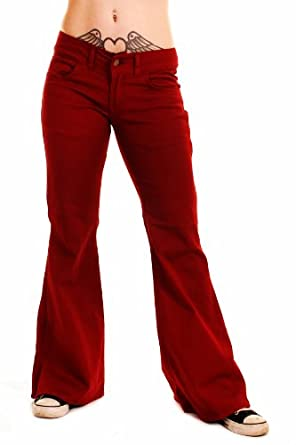 LADIES 60s 70s HIPPY RETRO INDIE DISCO BURGUNDY STRETCH HIPSTER BELLBOTTOM KICK FLARE JEANS (8S)