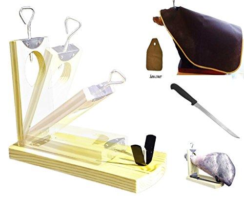 Robuste Support jambon pliable Lot de 3Lot de Jambon Serrano Support + Couteau à jambon + Housse + Couteau Jambon Serrano Jamonero