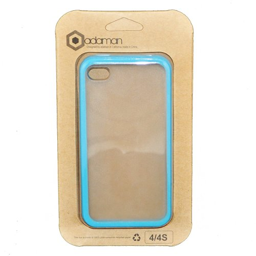 Baby Blue Tpu Frosted Clear Plastic Back Candy Bar Cover Case For Apple Iphone 4 4S