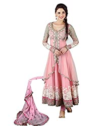 Royal Export Pink Net Semi Stitched Dress Material