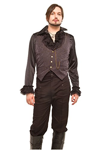 Mens-Black-Brocade-Gothic-Steampunk-Vest-Brass-Poppers-Fob-Chain-Sizes-S-2XL