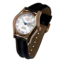 Xezo Mens Tribune 18 Karat Gold Layered 925 Sterling Silver Swiss Watch. Sapphire Crystal Glass