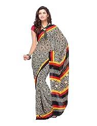 Fabdeal Women Indian Designer Printed Saree Black, Off White & Red (JSJSR8029HRTG)