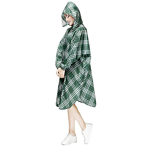 Ezyoutdoor Women's Portable Grid Pattern Hooded Raincoat Waterproof Packable Rain Jacket Poncho With Carry Pouch,One Size Fit Most (Green) (Ll Bean Womens Quilted Jacket compare prices)