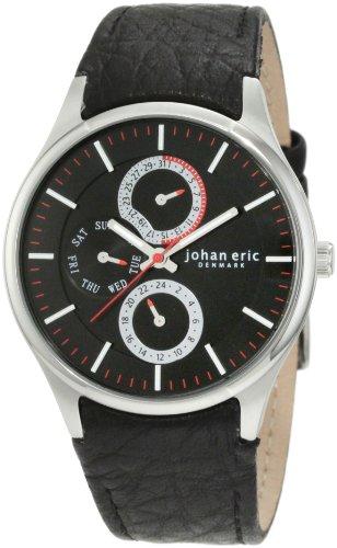 Johan Eric Streur JE4002-04-007 - Reloj analógico de cuarzo para hombre, correa de cuero color negro