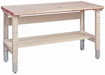 """Lyon DD2537A Pressed Wood Over Steel Top Adjustable Legs Work Bench with Stringer and Shelf, 72"""" Width x 34"""" Depth x 36-1/4"""" Height, Dove Gray"""