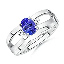 buy Oval Tanzanite And Diamond Split Shank Engagement Ring With Matching Plain Band In 14K White Gold