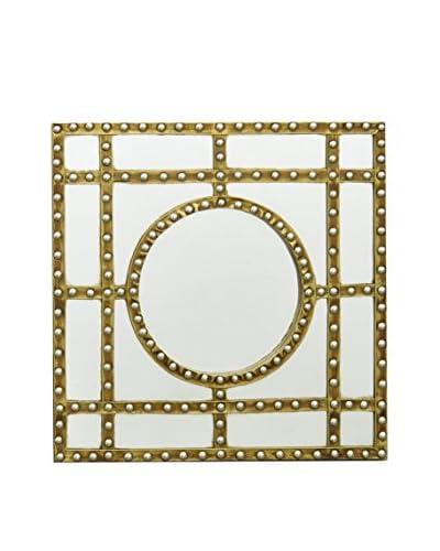 Three Hands Wood Wall Mirror