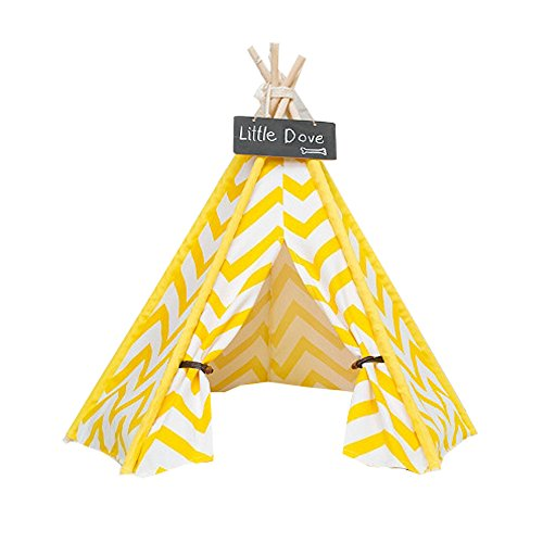 Free Love@white and yellow stripe design Pet Kennels Pet Play House Dog Play Tent Cat /Dog Bed