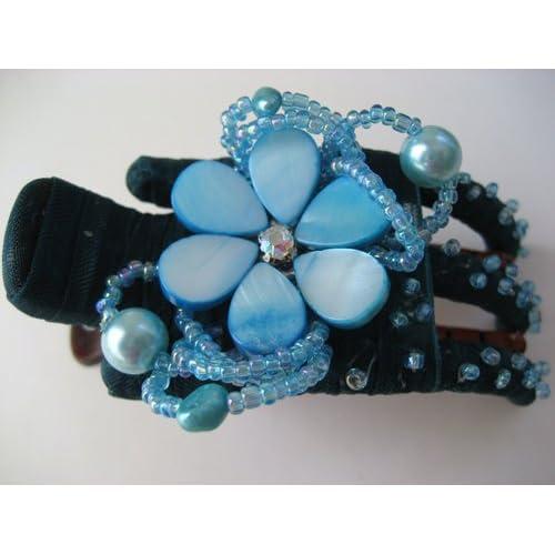 Turquoise Daisy Flower Seashell Hair Barrette Clip