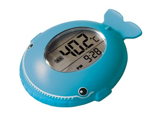 シンワ 風呂用デジタル温度計 A くじら 時計機能付き 72983