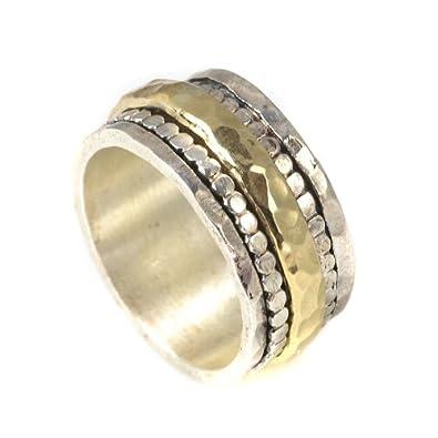 Tiljon Handmade 925 Silver and 9K Gold Spinning Ring, Made in Israel