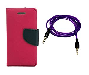 Kerbs Combo Pack fancy flip diary/case/cover for mercury for Nokia Lumia 950 pink and purple auxiliary cable