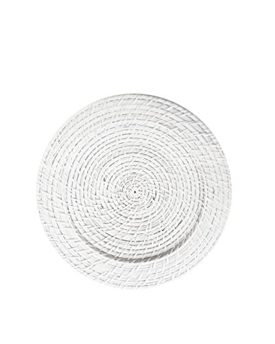 """Style Setter 13"""" White Rattan Charger"""