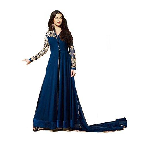 Janasya-Womens-Navy-Blue-Embroidered-Georgette-Semi-Stitched-Dress