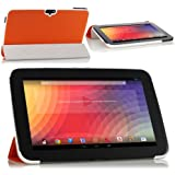 MoKo Ultra Slim Lightweight Smart-shell Stand Cover Case for Google Nexus 10 inch Tablet by Samsung, ORANGE (with Smart Cover Auto Wake/Sleep)
