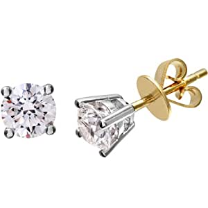 Naava 18ct Yellow Gold Stud Earrings, H/SI Certified Diamonds, Round Brilliant, 1ct