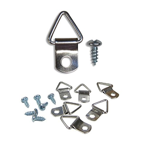 100 Pack Picture Frame Triangle Ring Hanger Picture Hanger with Screws 1 1/8