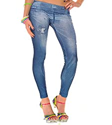 isweven Girls Slim Fit Jeggings(j03 Blue Free Size)