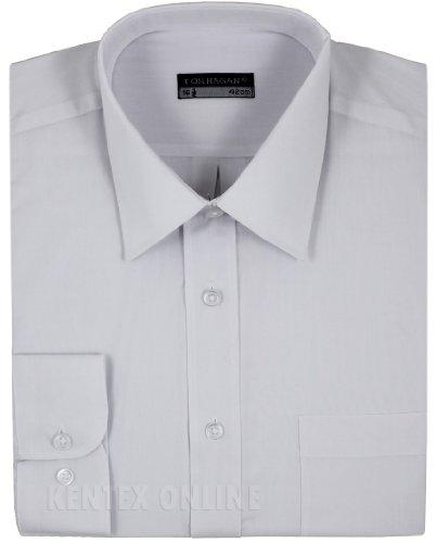 Mens Formal Shirts Long Sleeve Stylish Plain Coloured Big Sizes 15 to 18 (16 (41), White)