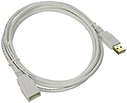 Monoprice 6-Feet USB 2.0 A Male to A Female Extension 28/24AWG Cable (Gold Plated), White (108606)