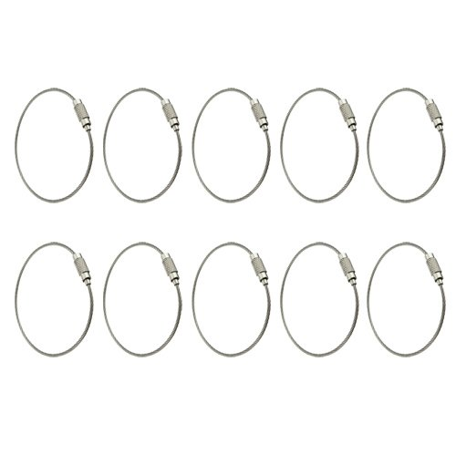 10 Pcs Stainless Steel Wire Keyring Keychain Key Holder Screw Cabletwist Barrel