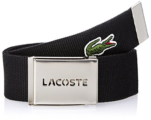 Lacoste Men's L.12.12 Textile Signature Croc Logo Belt, Black, 95 (Lacoste Belts compare prices)