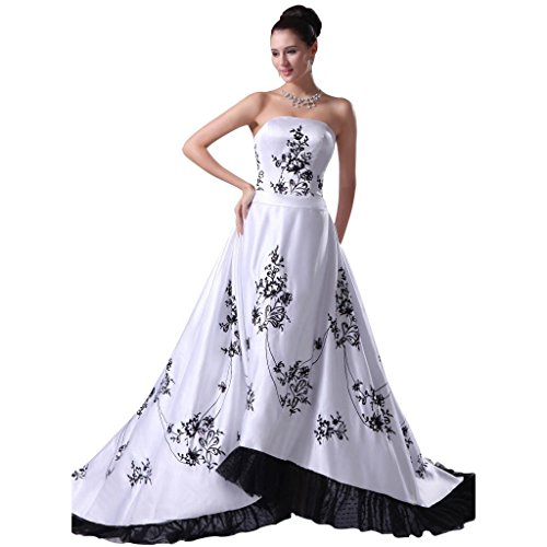 Kivary Strapless Vintage White and Black Corset Embroidery A Line ...