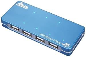 Heden Hub USB 2.0 avec adaptateur 7 ports Bleu