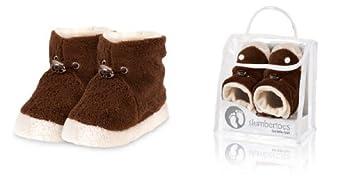 Slumbertoes Baby Winter Booties Fleece Brown hand made, size 0-6 months